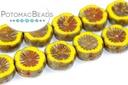 Hawaiian Flowers Yellow Travertine 12mm