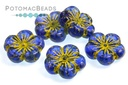 Hibiscus Flowers Sapphire Blue Gold Wash 22mm