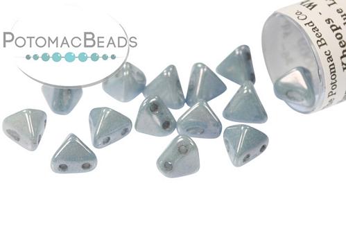 Super Kheops Beads - White Baby Blue Luster (Opaque Blue Ceramic) - 9g Tube - Pack of 50
