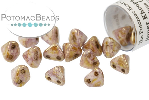 Super Kheops Beads - Opaque Rose ( Opaque Rose / Gold topaz Luster ) - 9g Tube - Pack of 50