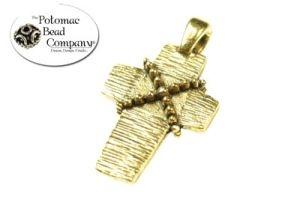 Antique Gold Cast Textured Cross
