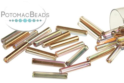 Czech Bugle Crystal Rainbow Copper