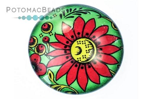 Glass Cabochon Folk Art Lg Red Daisy