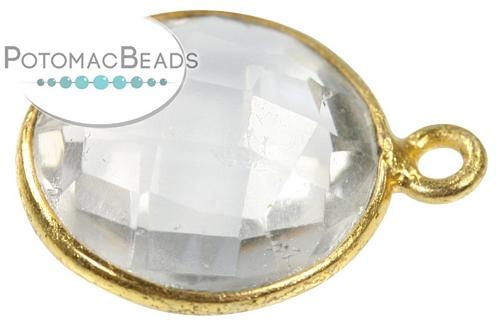 Bezeled Gemstone - Quartz Coin Gold Plated Drop - Each - Per one