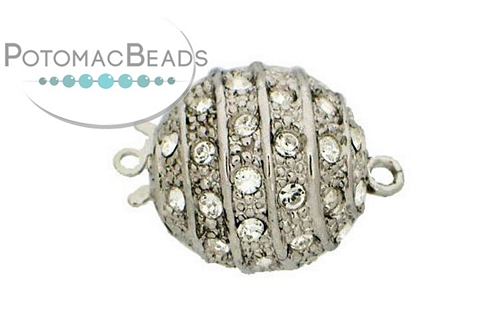 Claspgarten Clasp Magnetic Ball SP 16mm with crystals (Rhodium Plated)