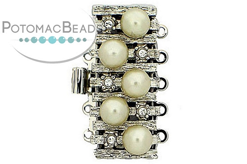 Claspgarten Clasp Rectangle SP Zig Zag Pearl 5-Strand (Rhodium Plated)