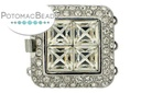 Claspgarten Clasp Square Crystals SP 3-Strand (Rhodium Plated)