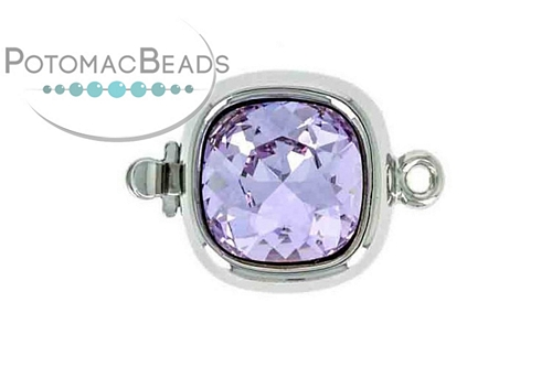 Claspgarten Clasp Square SP Violet Crystal 1-Strand (Rhodium Plated)
