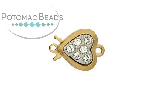 Claspgarten Clasp Heart GP 10mm with crystals (23kt Gold Plated)