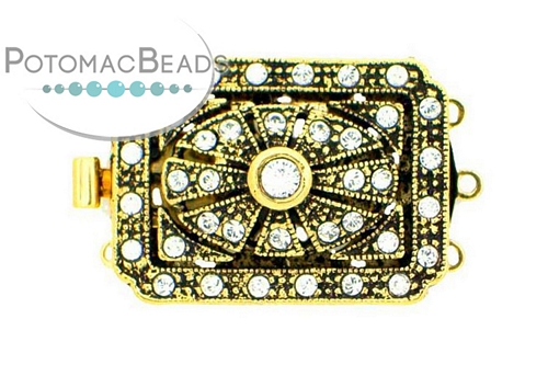Claspgarten Clasp Rect Filigree GP 3-Strand with crystals (23kt Gold Plated)