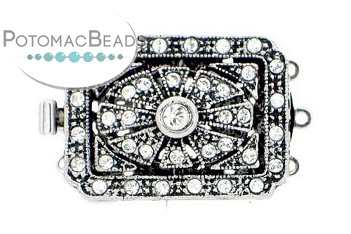 Claspgarten Clasp Rect Filigree SP 3-Strand with crystals (Rhodium Plated)