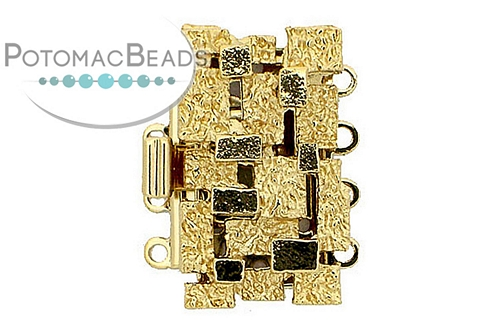 Claspgarten Clasp Mosaic Rect GP 4-Strand (23kt Gold Plated)