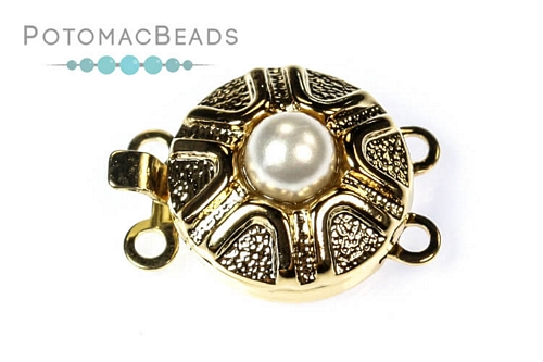 Claspgarten Clasp GP Pearl Zig Zag Box Clasp 2-loop (23kt Gold Plated)