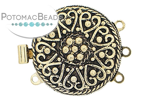 Claspgarten Clasp GP Heart Filigree 3-loop (Antique 23kt Gold Plated)