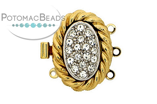 Claspgarten Clasp GP Coiled Crystal Nest 3-loop (23kt Gold Plated)