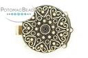 Claspgarten Clasp GP Heart Filigree 26.5mm 3-loop (Antique 23kt Gold Plated)