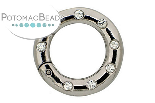 Claspgarten Clasp SP Twist Ring with Crystals 25mm (Rhodium Plated)