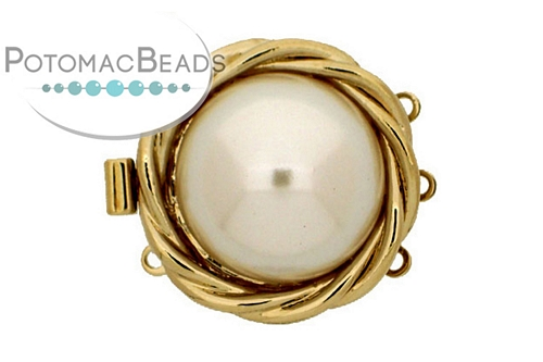 Claspgarten Clasp GP Nested Pearl 3-loop (23kt Gold Plated)