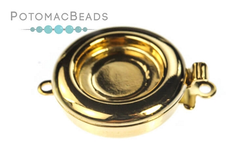 Claspgarten Clasp Gold Plated Round 1-loop (23kt Gold Plated)