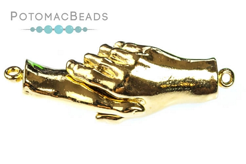 Claspgarten Clasp Grasped Hands GP Magnetic 1-Strand (23kt Gold Plated)