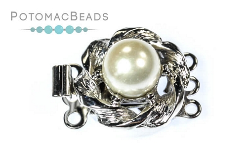 CG Clasp SP Twisted Round 3-loop Pearl Clasp (Rhodium Plated)