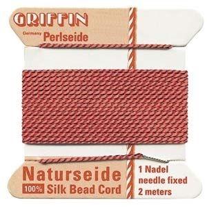 Silk Cord w/ Needle Size 4 Coral