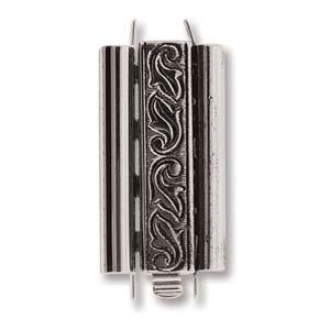 Beadslide Swirl Design Antique Silver 10x24mm