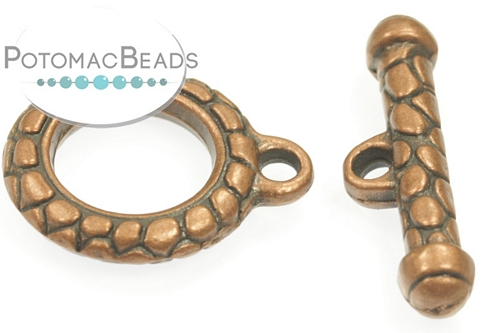 Pewter (Copper ) Toggle - Snakeskin 20mm
