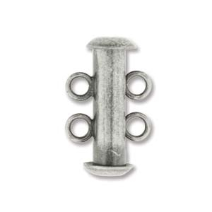 Antique Silver Plated 2-strand Tube Clasp (5 pack)