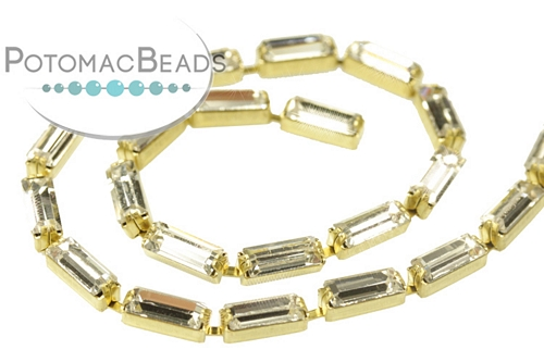 Baguette Chain Crystal Brass (Per inch)