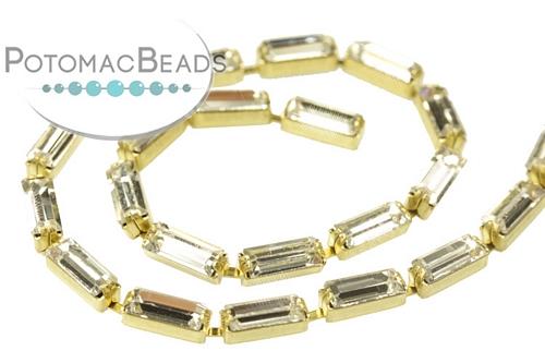 Baguette Chain Crystal Brass (Per Foot)