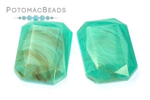 Resin Emerald Cut Cab - Turquoise Swirl 18x25mm