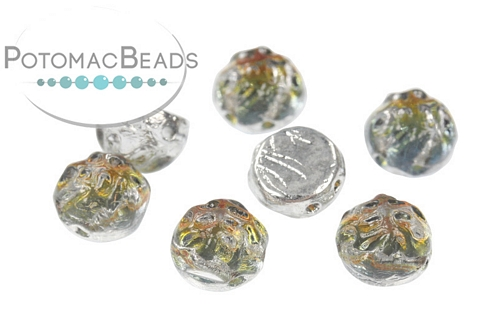10 Glass Cabochon Spitzoval Coral 15 x 7 mm