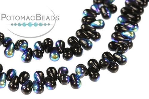 Czech Drop Beads - Jet AB - 4x6mm - Bag - Pack of 100