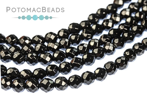 Black Onyx Faceted Round 4mm