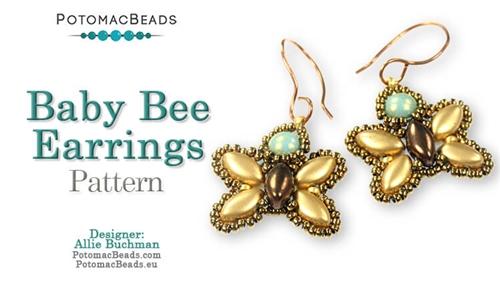 Beadweaving 1201 Baby Bee Earrings Pattern