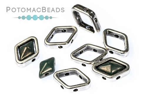 Halo Bead for Diamond Shapes - Antique Silver (10 Pack)