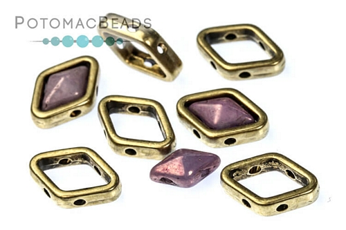 Halo Bead for Diamond Shapes - Antique Brass (10 Pack)