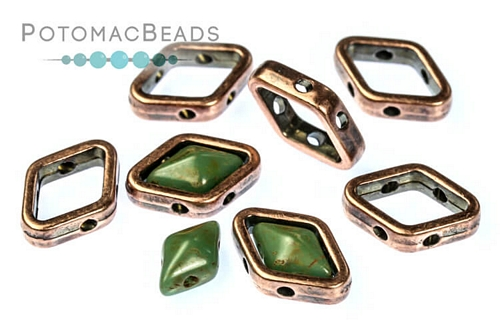 Halo Bead for Diamond Shapes - Antique Copper (50 Pack)