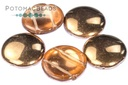 2 Hole 18mm Cabochon Crystal Capri Gold