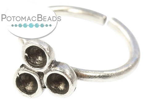 Silver Plated Cluster Ring with Chaton Setting SS12-24 19mm