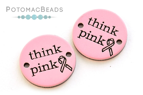 """Round """"Think Pink"""" Cancer Awareness Connector 20mm"""