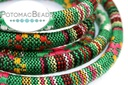 Cotton Round Ethnic Cord Green Mulit 6.5mm