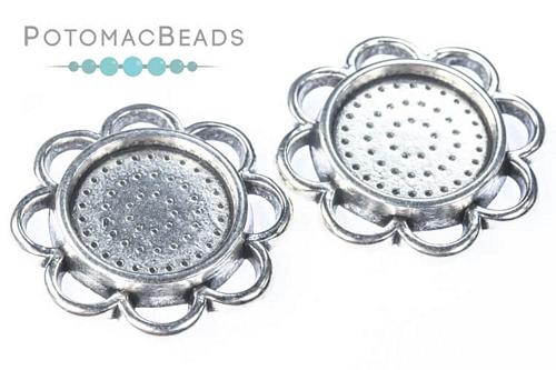 Cabochon Bezel Round 14mm Flower Antique Silver