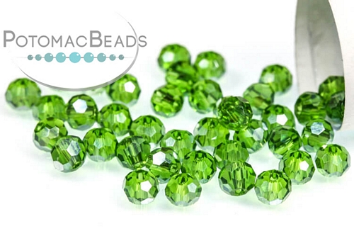 Potomac Crystal Round Beads - Emerald AB - 3mm - Bag - Pack of 200