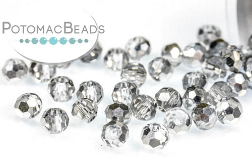 Potomac Crystal Round Beads - Half Silver - 3mm - Bag - Pack of 200
