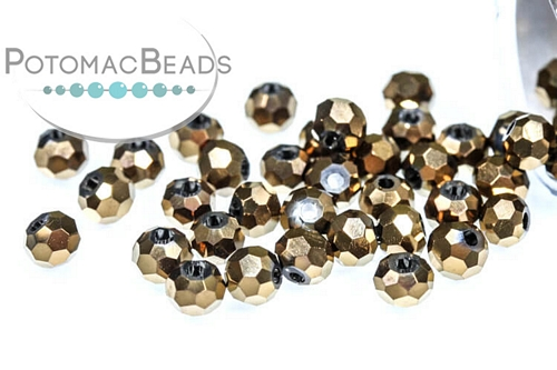 Potomac Crystal Round Beads - Metallic Bronze Iris - 3mm - Bag - Pack of 200