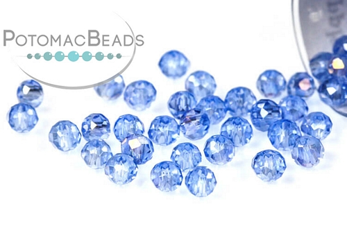 Potomac Crystal Rondelle Beads - Light Sapphire AB - 1.5x2mm - Bag - Pack of 200