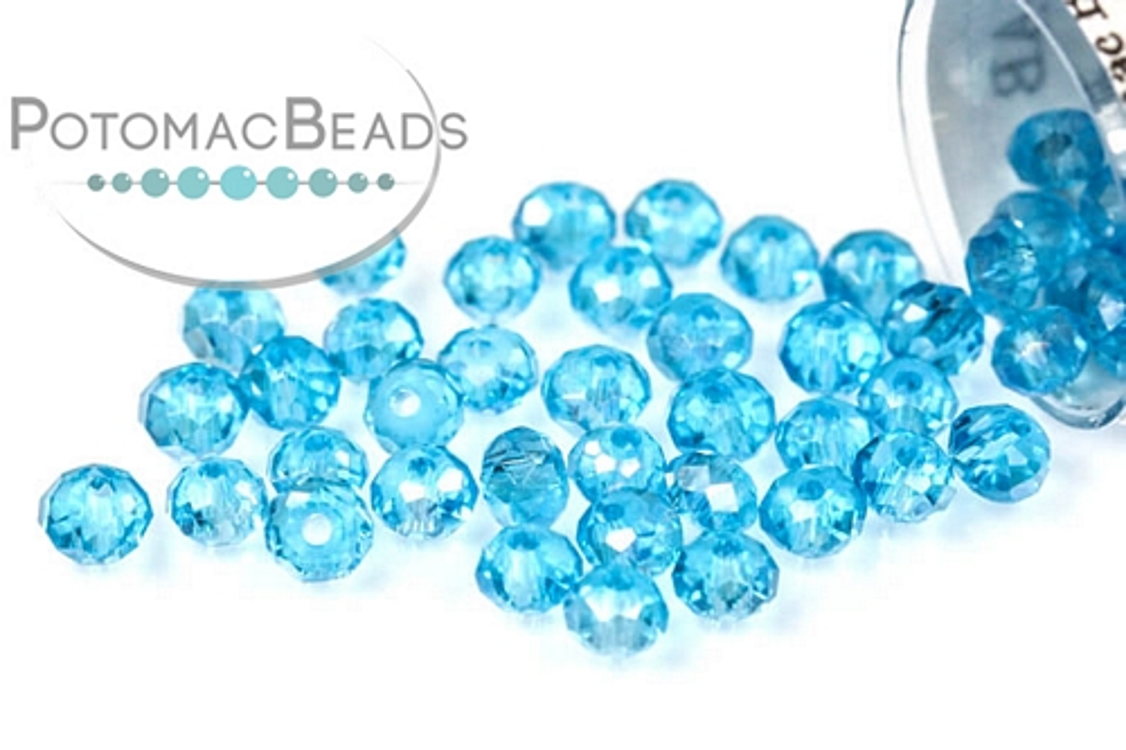 Potomac Crystal Rondelle Beads - Aqua AB - 1.5x2mm - Bag - Pack of 200