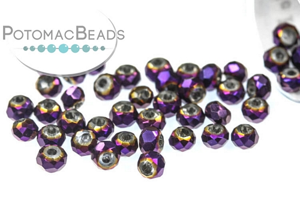 Potomac Crystal Rondelle Beads - Metallic Purple Iris - 1.5x2mm - 9g Tube - Pack of 200